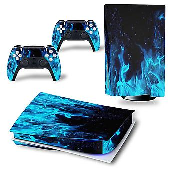 (Blue Flame) Ps5 Sticker Vinyl Skin Wrap Protect Playstation 5 Console Controller Decal Cover