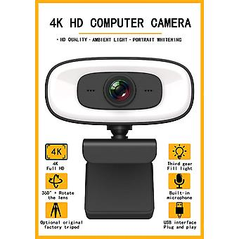 4k Webcam With Light Ultra Hd 8mp Autofocus Web Cam With Microphone For Desktop Pc Usb Webcameras For Computer Pro Streaming Tripod Included