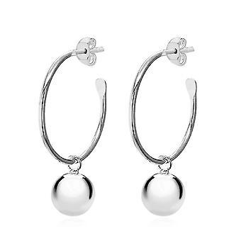 TJC Silber Ball Drop Hoop Ohrringe für Frauen Shinny Sterling gestempelt Schmuck
