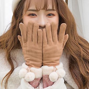 Süße Wildleder Damen plus Samt Warme Handschuhe Khaki