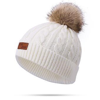 פעוט צמר צמר כובע חורף טוויסט יחיד פום פום סרוגים כובע שעועית ורוד