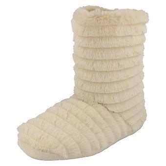 Ladies Spot On Pull On Slipper Boots X2049