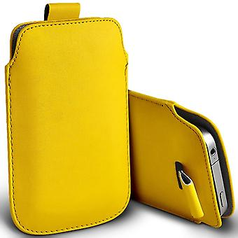 Huawei Y625 Slip In Pull Tab Faux Leather Pouch Case Cover (Yellow)