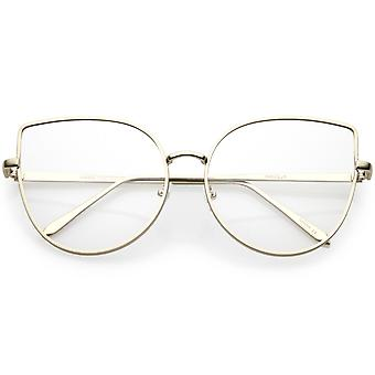 Damen Oversize Metall Katze Gläser schlanke Arme flach Augenlinse 59mm