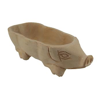 Decorative Hand Carved Natural Wood Pig Centerpiece Bowl