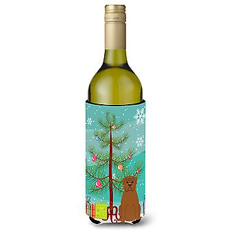Merry Christmas Tree Dogue de Bourdeaux Wine Bottle Beverge Insulator Hugger
