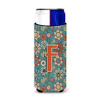 Letter F Flowers Retro Blue Ultra Beverage Insulators for slim cans