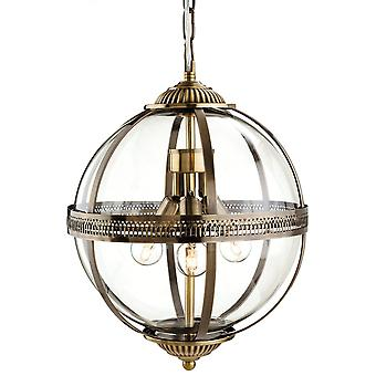 Firstlight Traditional Bronze Clear Glass Globe Pendant Light