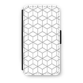 iPhone X フリップ ケース - 黒と白のキューブ