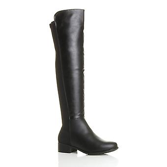 Ajvani womens high over the knee elastic curvy stretch pull on low heel boots