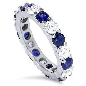 3ct blå safir & Diamond evighet Ring 14K vitt guld