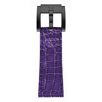 LB_V_K_B roxo de couro de crocodilo de 22 MM aço TW Marc Coblen pulseira relógio banda