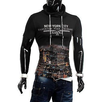 T-Shirt Hoodie Kurzarm High Neck Figurbetont Stretch Slim Fit Silverton City
