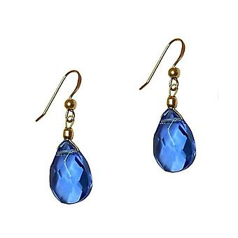 GEMSHINE women's earrings blue topas quartz gold plated drop earrings