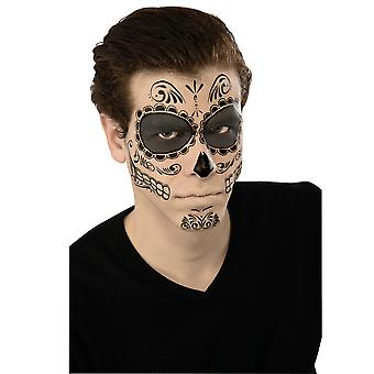 Skeleton Day Of The Dead Mexican Senor Mens Costume Temporary Face Tattoos