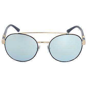 Bvlgari Round Sunglasses BV6085B 20206J 55 | Blue Metal Frame | Blue Mirror Lenses