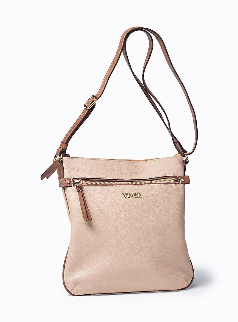 Viver Leather Crossbody Bag Lily Beige