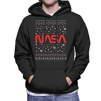 The NASA 1975-1992 Logo Christmas Knit Pattern Men's Hooded Sweatshirt