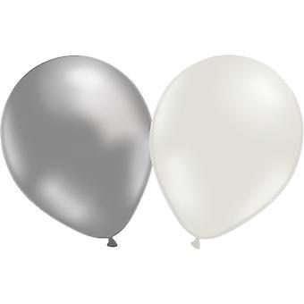 Balony 20 szt., 10 srebrnych i 10 białych 30 cm (12-calowy)