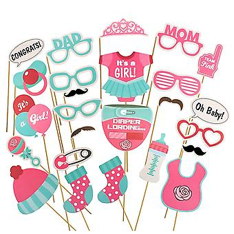 25PC BABY GIRL SHOWER PROPS SET
