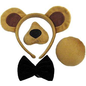 Set di orso (orecchie, naso, coda + cravatta a farfalla.