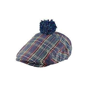 Union Jack Wear Scottish Green Tartan Pom Flat Cap