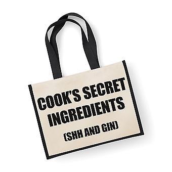 Große schwarze Jute Tasche Cook geheimen Zutaten (Shh und Gin)