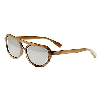 Bertha Brittany Buffalo-Horn Polarized Sunglasses - Honey-Black/Silver