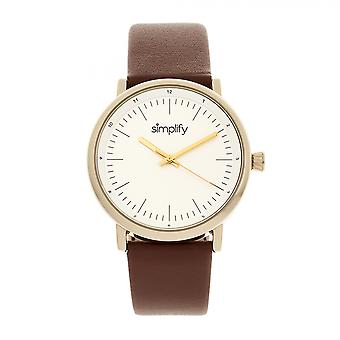 Simplify The 6200 Leather-Strap Watch - White/Brown