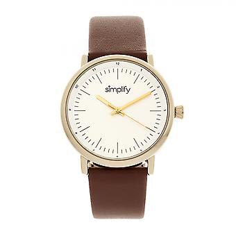 Vereenvoudigen van de 6200 Leather-Strap Watch - wit/bruin