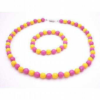 Исключительно прекрасный цветок девушка драгоценные розовый & желтый многогранной шарик