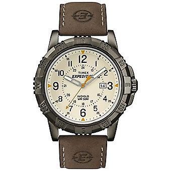 Timex T49990 גברים אנלוגיים של פרק כף היד לצפות, עור, לבן/חום