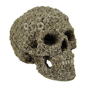 Late Bloomer Flower Covered Human Skull Statue