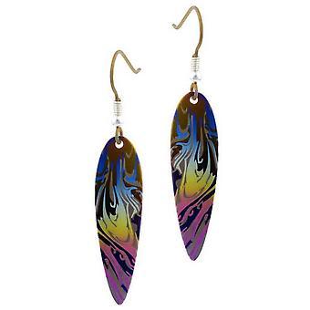 Ti2 Titanium Swirl Pattern Drop Earrings - Blue/Yellow/Pink