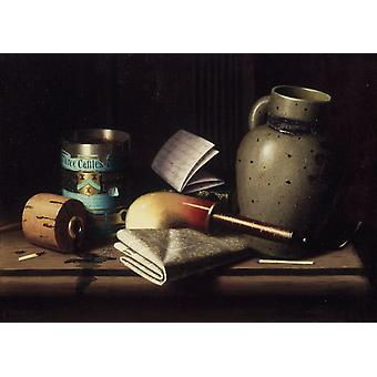 Still life with Three Tobacco,William Michael Harnett,27.3x38cm