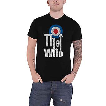 The Who T Shirt Elevated Target Mod band logo distressed new Official Mens Black