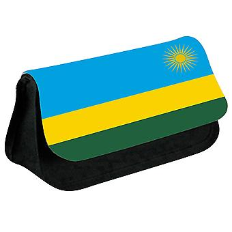 Rwanda Flag Printed Design Pencil Case for Stationary/Cosmetic - 0145 (Black) by i-Tronixs