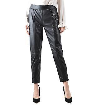 Boutique Moschino Ezbc170012 Women's Black Leather Pants