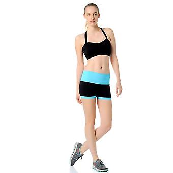 Jerf- Womens-mahe - Black And Neon Blue - Seamless Active Short