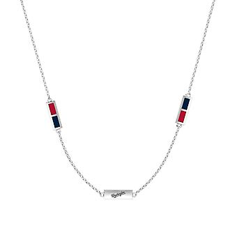 Washington Nationals Sterling Silver Engraved Triple Station Necklace In Red & Blue