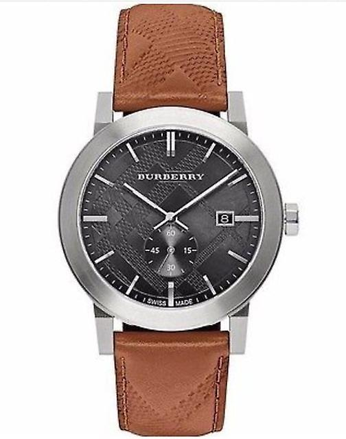 Burberry Bu9905 Men's The City Swiss Black Dial Brown Leather Watch