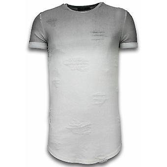 Flare Effect T-shirt - Long Fit -Shirt Dual Colored - Grey