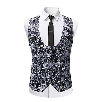 Allthemen Men ' s suit Vest U-nyak Slim Fit Tuxedo suit mellény Grey