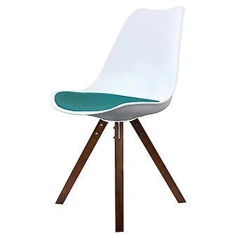 Fusion Living Eiffel Inspiré Blanc et Sarcelle Dining Chair with Square Pyramid Dark Wood Legs