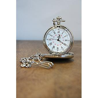 Woven Silver Stainless Steel Pocket Watch