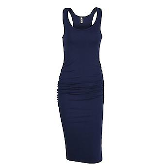 Missufe Women's Ruched Bodycon Sundress Midi Fitted Casual Dress (Navy Blue, ...