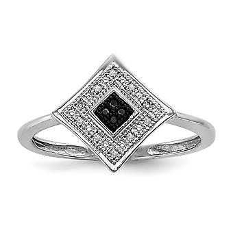 925 Sterling Silver Polished Gift Boxed Rhodium plated Black and White Diamond Ring Jewelry Gifts for Women - Ring Size: