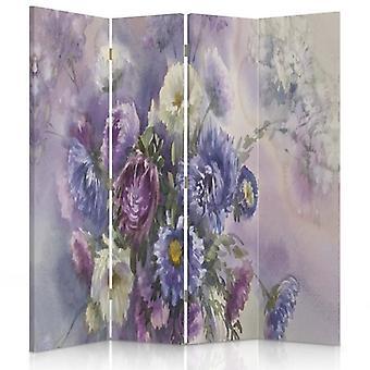 Raumteiler, 4 Paneele, Doppelseitig, 360 ° drehbar, Leinwand, Blumenstrauß