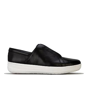 Womens Fitflop Racine Lace Up Leather Trainers In Black