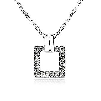 18k white-gold plated charming square necklace